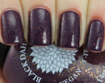 Dark Plum Crelly Nail Polish with Gold Flakies and Shimmer -- Koa Tree