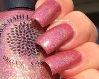 Warm Peach Holo Nail Polish with Flakies and Micro Glitter -- Lokelani