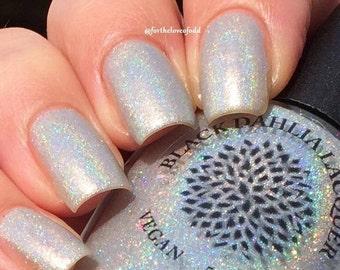 Silver Holo Nail Polish with Micro Glitter - Silver Tinsel