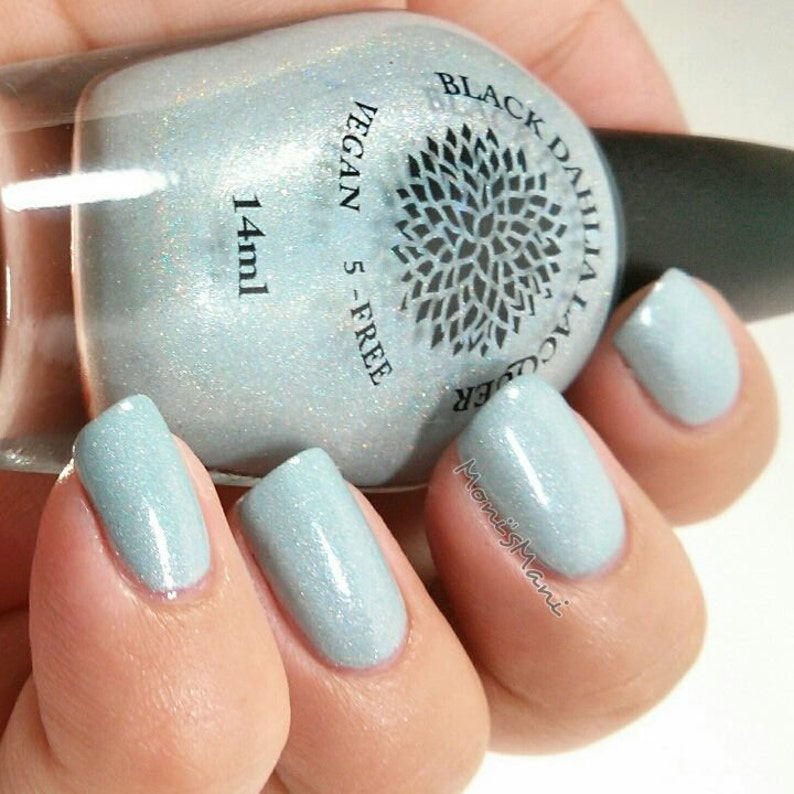 Light Baby Blue Nail Polish With Glitter Shimmer By Black Etsy