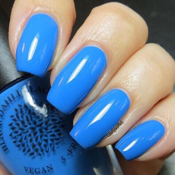 Bright Blue Creme Nail Polish Black Dahlia Lacquer Blue