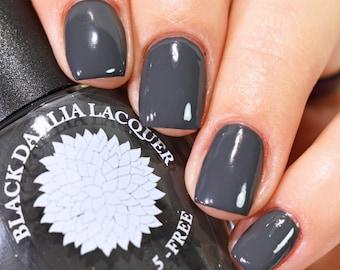 Dark Gray Creme Nail Polish by Black Dahlia Lacquer | Dove Gray Corsage | Vegan 5 Free Grey Nails | Indie Cruelty Free Cream Varnish