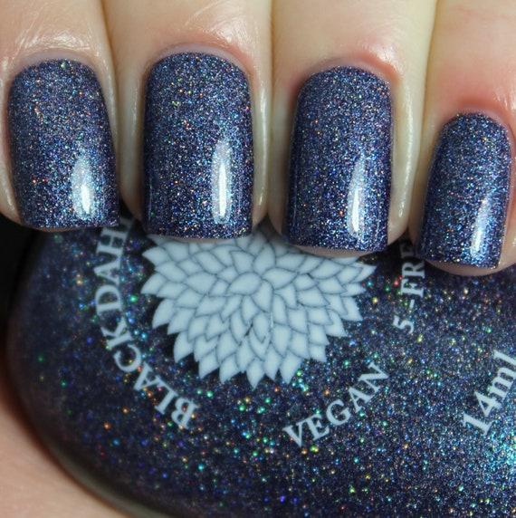 Navy Indigo Crelly Nail Polish with Micro Glitter and Glass | Etsy
