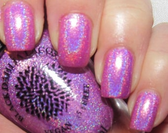 Bright Hot Pink Magenta Holo Nail Polish with Shimmer by Black Dahlia Lacquer | Wild Orchid | Cruelty Free Indie Summer Fuchsia Poland Nails