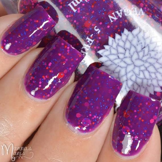 Matte Black Glitter Nail Polish: Bright Purple Crelly With Matte Glitter Nail Polish By