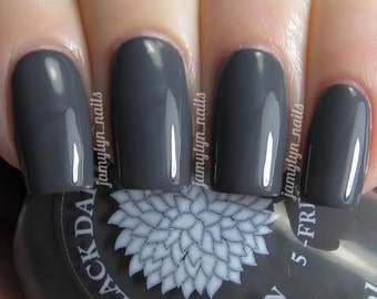 Dark gray creme nail polish by Black Dahlia Lacquer - Dove Gray Corsage - vegan, 5-free and handmade