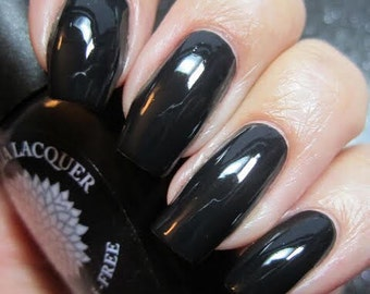 Pitch Black Nail Polish by Black Dahlia Lacquer - Midnight Rose- 5-free and handmade