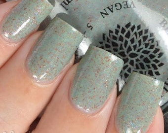 Green-Tinted Grey Crelly with Rainbow Flakies Vegan Nail Polish by Black Dahlia Lacquer - Rose Bud