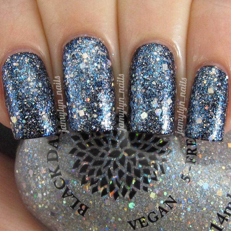 Silver Holo Glitter Top Coat Nail Polish by Black Dahlia | Etsy