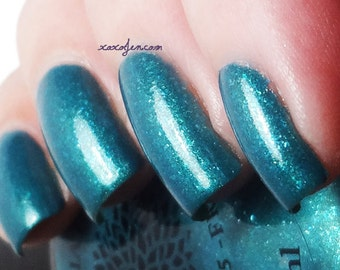 Shimmer Teal with Blue Flakies Vegan Nail Polish -- SXSW Fever by Black Dahlia Lacquer - Vegan & 5-Free