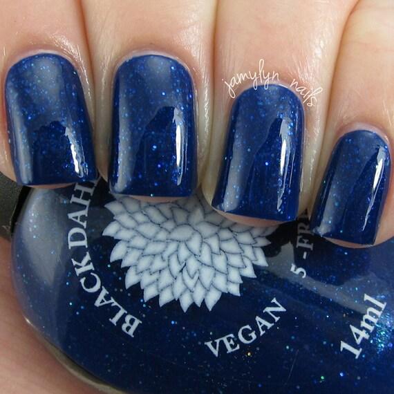 Brilliant Dark Blue Nail Polish with Micro Holo Glitter &   Etsy