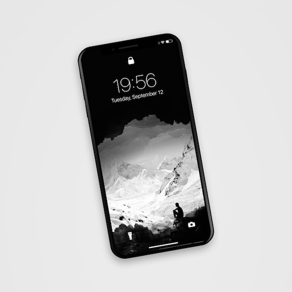 Black And White Mountain Photo Collage Cell Phone Wallpaper Phone Background