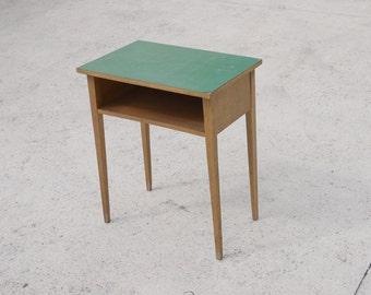VINTAGE SIDE TABLE Sea green Laminate Top 1960 Oak Wood Contemporary Sofa Table Modern Living
