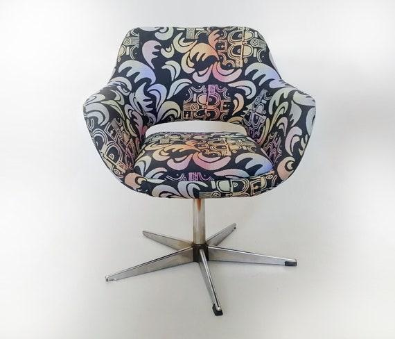 bunte Sessel Regenbogen Lounge Metall Basis gepolstert Vintage Muster 1970er einfach Stuhl Retro Jahren bequem Stern Ei weich Funky Chrom n0m8PywNvO