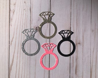 Glitter Engagement Ring Die Cut, Batch Party Cut Outs, Birthday Cut Outs, Party Cut Outs, Confetti, any color, Diamond Ring Die Cut