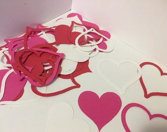 Heart Die Cut Outs, Valentines Day Die Cut Outs, Red Pink White Heart Die Cut Outs, Party Cut Outs, Confetti, Anniversary, Valentine