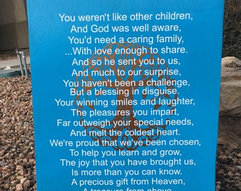 """A Special Child, Special Needs Sign, Disabled Sign, Beautiful Poem for Disabled Children 20x30"""""""