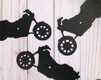 On SALE! Motorcycle Die Cut Outs From Card Stock, Party Cut Outs, Birthday Cut Outs, Party Cut Outs, Confetti, harley