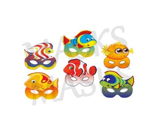 6 Masks Printable Fish No Nemo Mask DIY Birthday Party Super Hero Digital