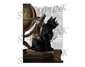 Cat illustration 2 STEAMPUNK - print - art print - wall - digital - digital - printable instant download