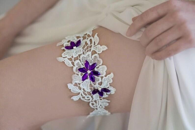 Boho wedding garter Bridal garter Purple wedding garter Lace bridal garter Garter for wedding purple Garter belt wedding Boho garter
