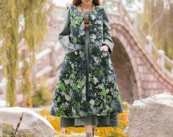 Anysize Spring Winter Waistcoat linen&cotton A-line coat Spring Fall Winter warm coat plus size coat plus size clothing F24A A