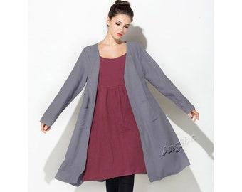 Anysize soft linen cardigan loose coat windbreaker plus size dress plus size tops plus size clothing Spring Fall Winter clothing coat Y80