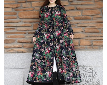 Anysize flowers padded Winter Coat linen&cotton thick cotton layer Spring Fall Winter warm coat plus size coat plus size clothing F88A A