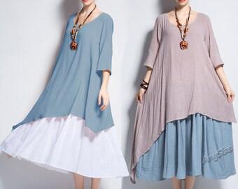 Anysize double color fake two pieces soft linen cotton spring summer dress plus size dress plus size clothing Y111