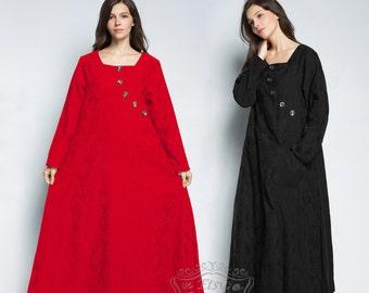 Anysize retro jacquard weave loose hem linen&cotton Spring Fall dress Winter warm dress plus size dress plus size clothing F85B