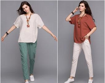 Anysize sides split soft linen cotton T-shirt plus size tops plus size dress plus size clothing summer dress  Y69