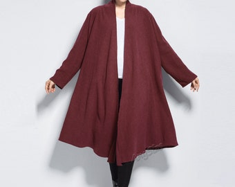 e7504fd5f90c Anysize Spring Winter linen cardigan plus size tops plus size clothing plus  size coat Spring Fall Winter clothing Y175