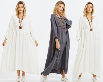 Anysize with side pockets soft linen cotton spring summer fall dress plus size dress plus size clothing F235A
