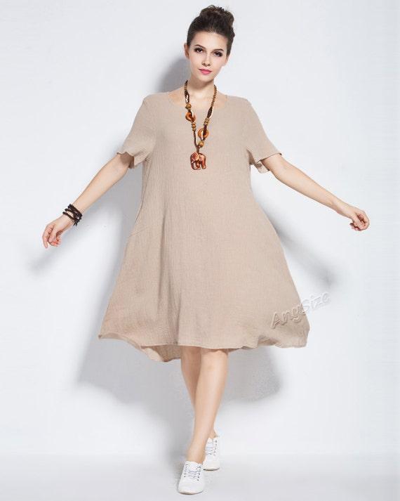 Anysize linen & cotton dress plus size dress plus size tops plus size  clothing spring summer dress spring summer clothing Y74