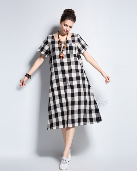 Anysize Spring Summer dress classic plaids soft linen&cotton dress plus  size dress plus size tops plus size clothing Y102