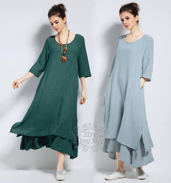 Anysize With Side Pockets Soft Linencotton Loose Dress Spring Etsy