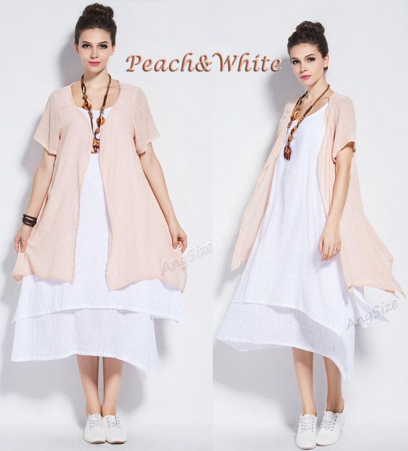 Anysize tri-layered soft linen&cotton Two-piece Dress Spring Summer dress  plus size dress plus size tops plus size clothing Y96