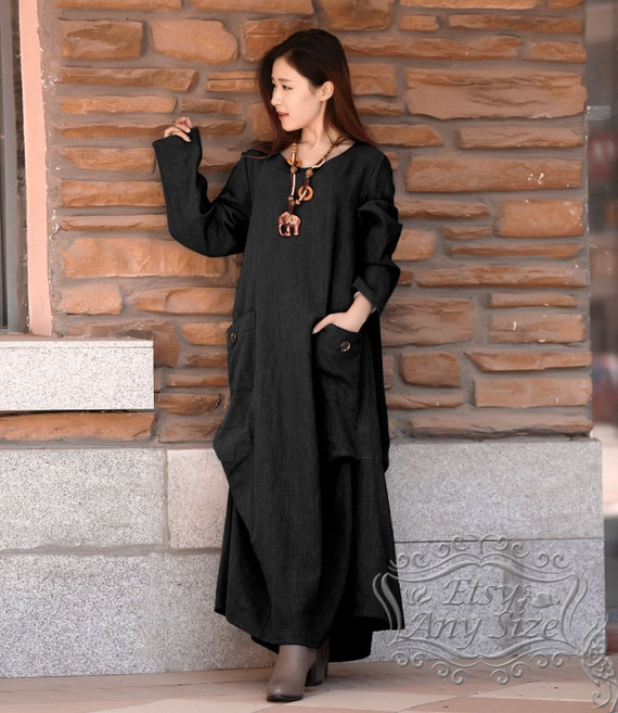 Anysize Simple comfortable breathable loose hem linen&cotton Spring Winter  Dress linen dress plus size dress plus size clothing F59A