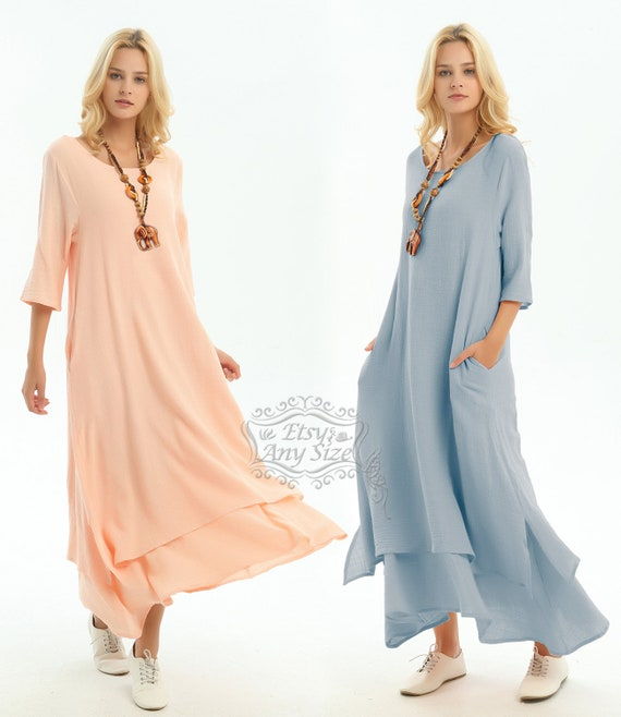 Anysize with side pockets soft linen&cotton loose dress Spring Summer dress  maxi dress plus size dress plus size clothing F147A