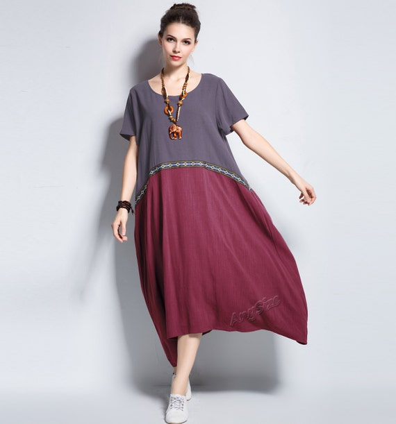 Anysize concise embroidery lace Linen Dress plus size dress plus size  clothing Spring Summer Fall dress Y135