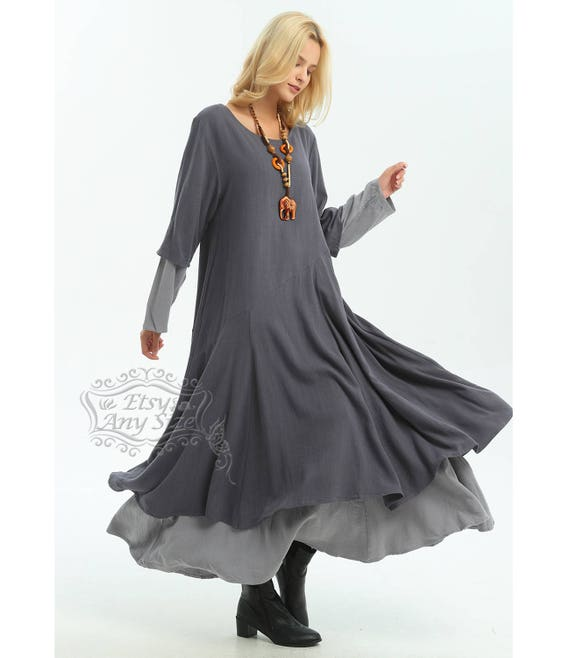 Anysize with Pockets Double-layer linen&cotton A-line dress Fall Winter  dress plus size dress plus size clothing F5A