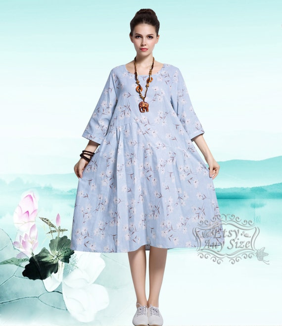 34bec9dc47 Anysize fresh painting linen   cotton dress plus size dress