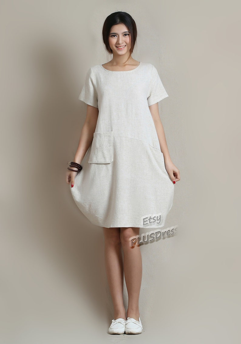 fb36dad4c5 Anysize soft linen   cotton LANTERN loose dress with deep heel