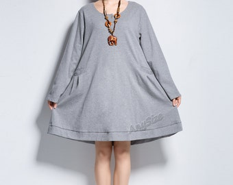 Anysize coconut shell buttons soft cotton dress plus size dress plus size tops plus size clothing Spring Fall clothing Y131