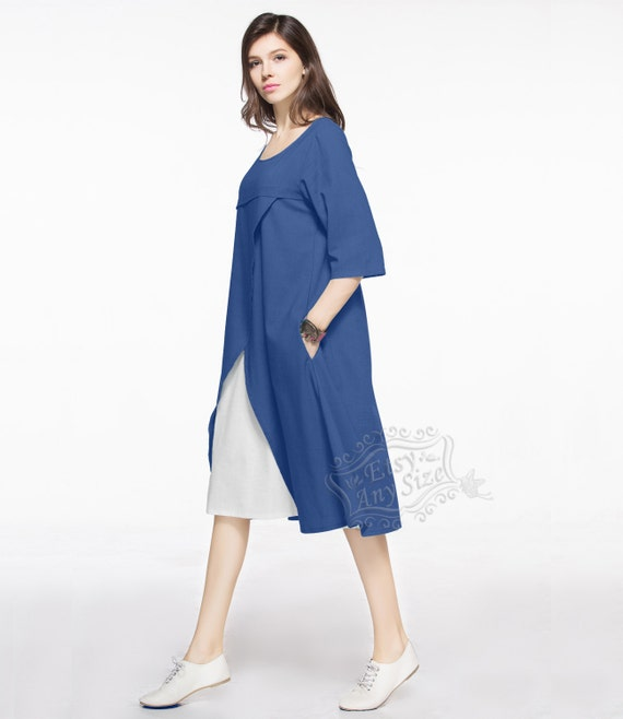 Anysize Summer Linen Fake Two-piece plus size dress plus size tops plus  size clothing Spring Summer Fall clothing Y116