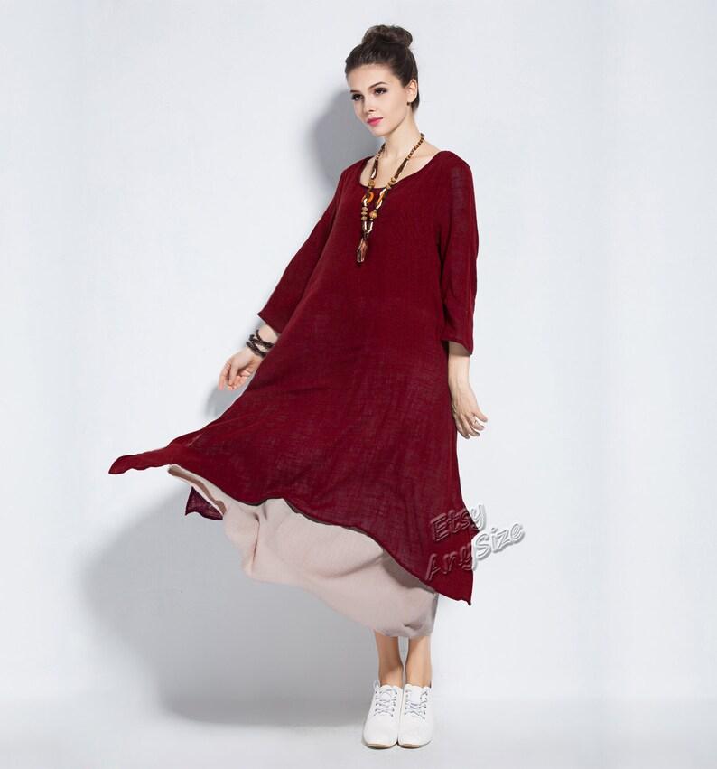 Anysize retro fake two piece soft linen & cotton dress plus | Etsy