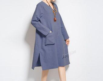 Anysize sides slit elastic linen & cotton dress plus size dress plus size tops plus size clothing Spring Fall dress Y179