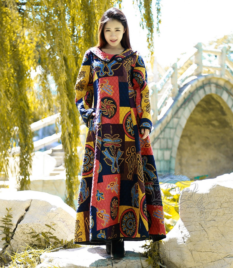 Anysize retro Winter dress linen/&cotton padded robe with thick cotton layer loose maxi dress plus size dress plus size clothing F51A