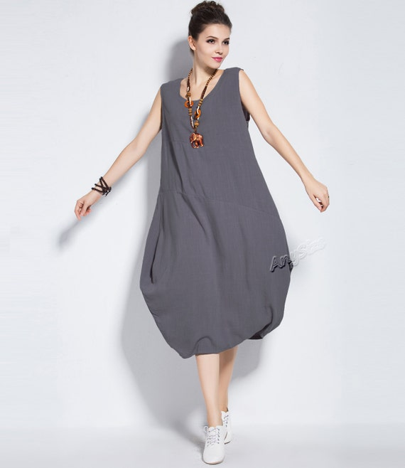 Anysize sleeveless soft linen lantern dress plus size dress plus size tops  plus size clothing summer dress summer clothing Y83