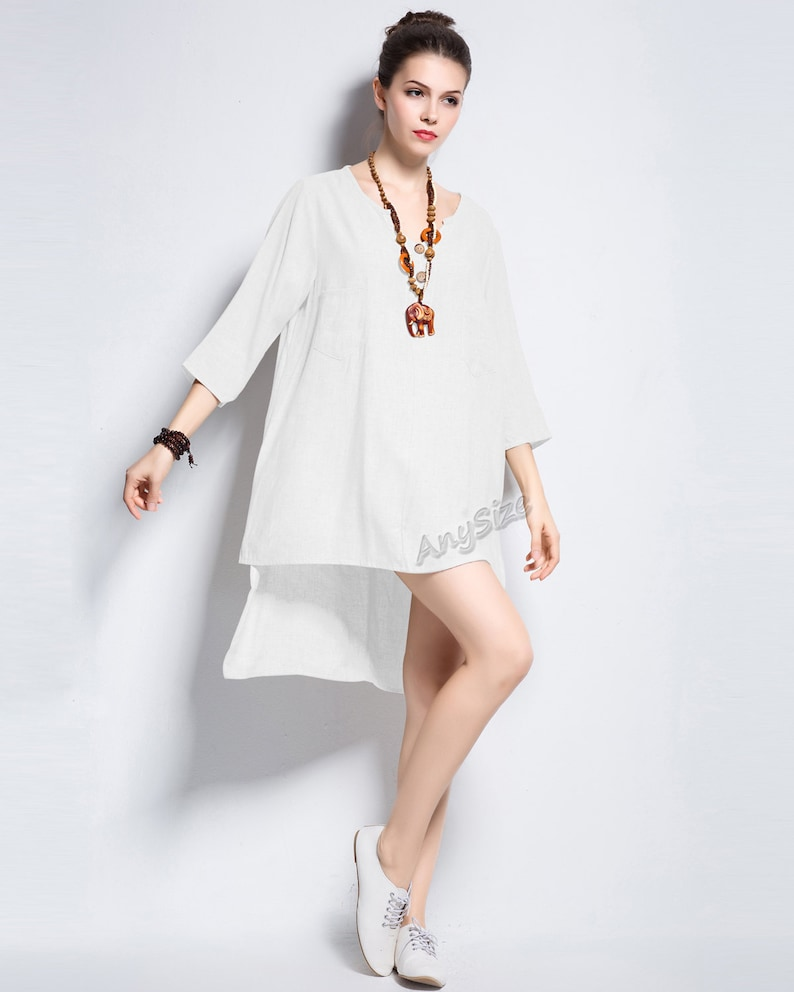 Anysize Summer dress with natural coconut buttons linen dress plus size dress plus size tops plus size clothing Summer clothing Y377